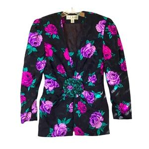 Vintage A.J. Bari Black Silk Floral Jacket